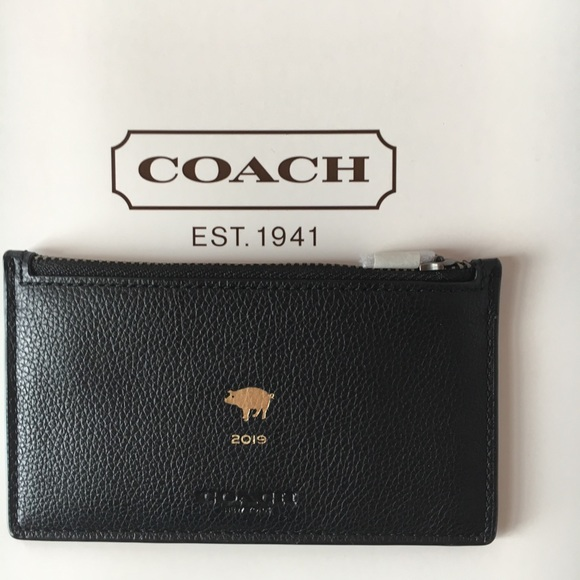 3cf624cbaba3e Coach Lunar New Year Zip Card Case Black Leather